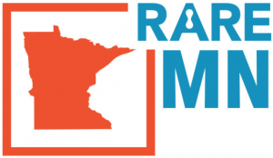 """Graphic of the outline of the state of minnesota in orange and """"rare disease"""" in blue"""