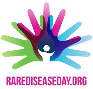rare disease logo with human hands in multiple colors